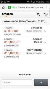 "Amazon: TV LG de 50"" 50lf6100 a $5,395 (vendido por un tercero)"