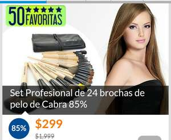 Cuponatic: Set profesional de 24 brochas de pelo de cabra a $299