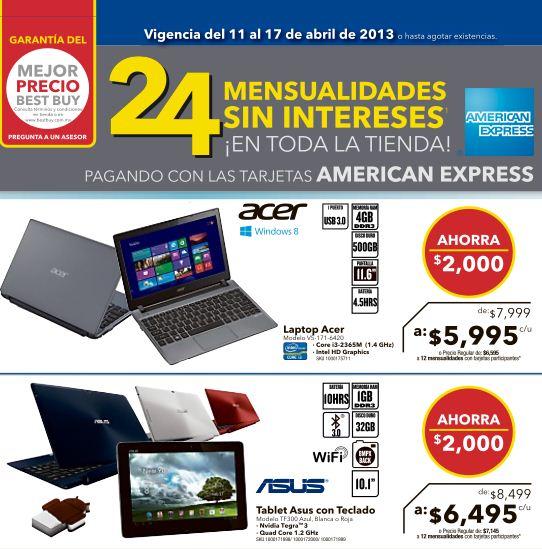 Best Buy: laptop con 4GB de RAM y procesador i3 a $5,995, 24 MSI con American Express y +
