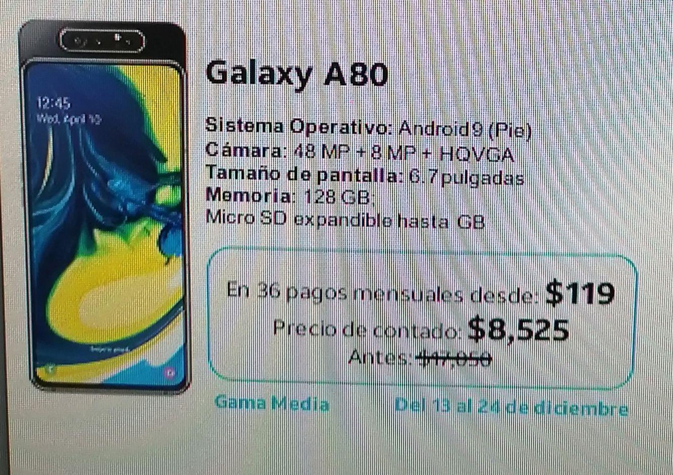 Samsung A80 Sacándolo en Plan Consiguelo AT&T