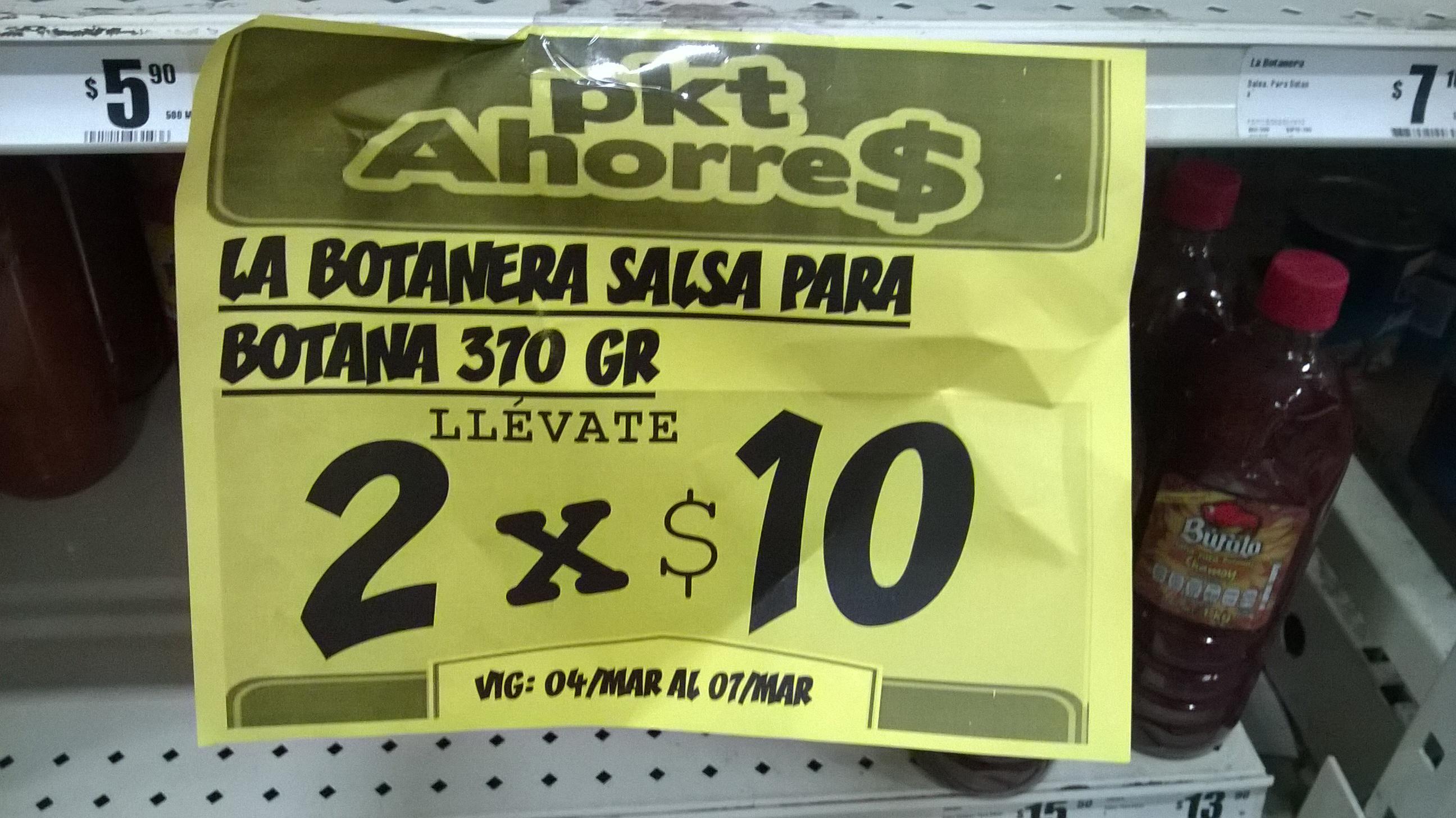 Mi Tienda del Ahorro: Dos salsas botaneras x $10