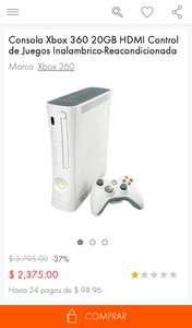 Linio: Xbox 360 de 20gb reacondicionada a $2,375
