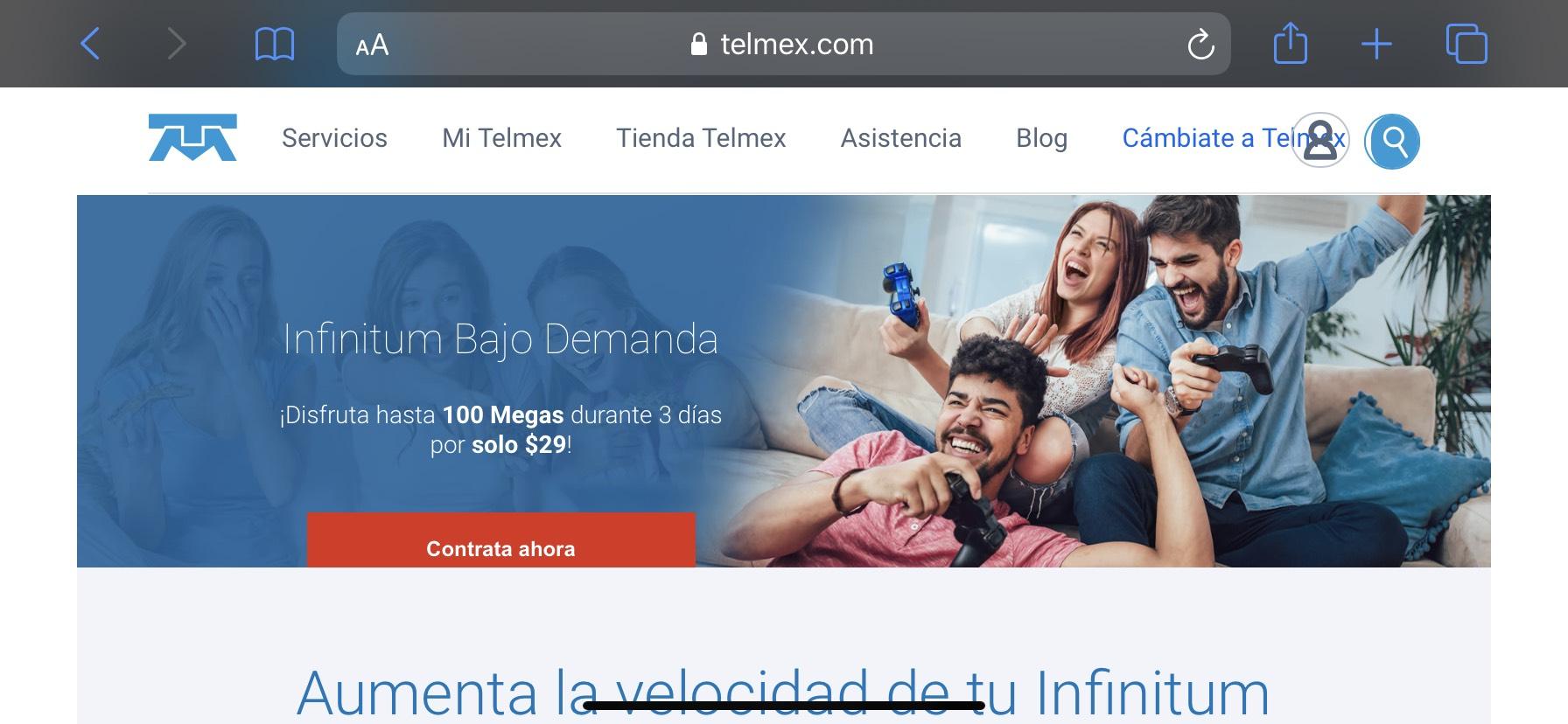 Telmex: Internet Simétrico desde 100MB por tres días