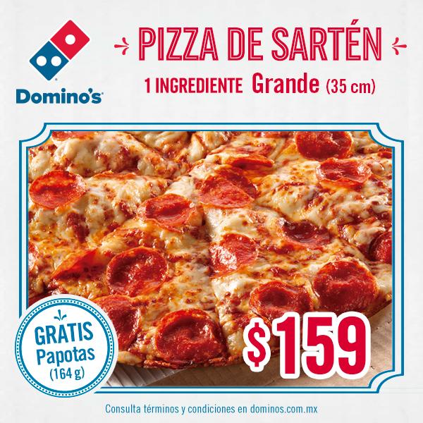 Domino's Pizza: pizza de sarten grande mas papotas por $159, con cupon (mostrador y telefono)