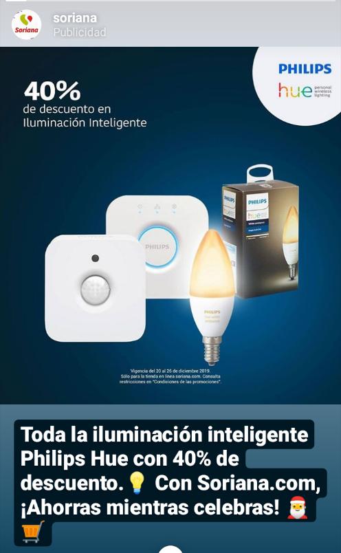 Soriana: 40% de descuento en iluminacion inteligente Philips hue