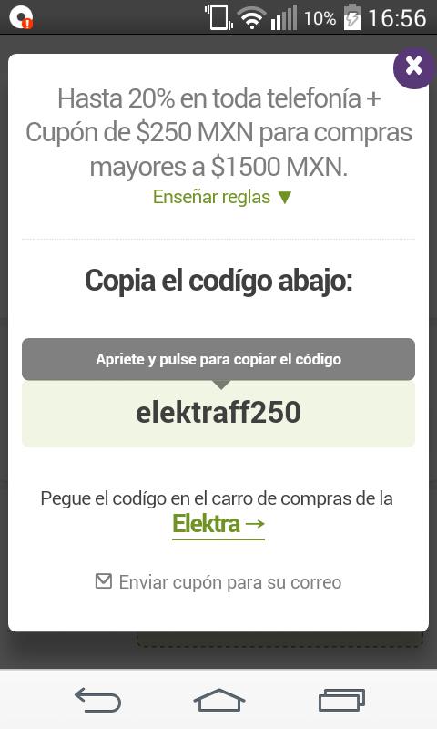 Elektra en línea: cupón de $250 en compras mayores a $1,500