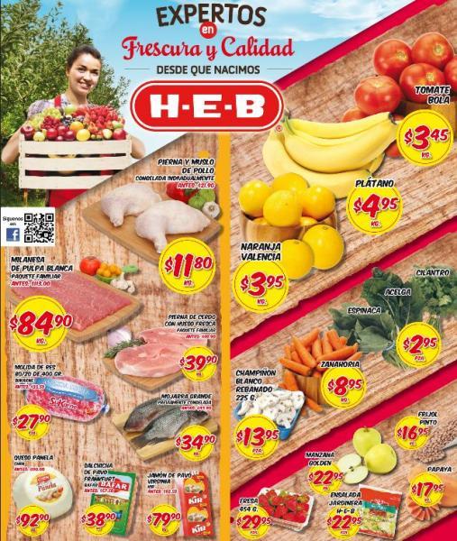 Frutas y verduras HEB: tomate bola $3.35,  plátano $4.95 y más