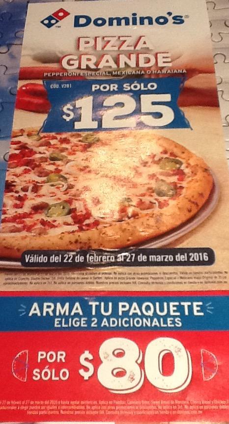 Domino's: Pizza Grande Pepperoni Especial, Mexicana o Hawaiana $125