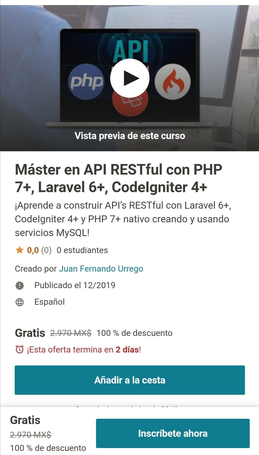 Udemy: Máster en API RESTful con PHP 7+, Laravel 6+, CodeIgniter 4+