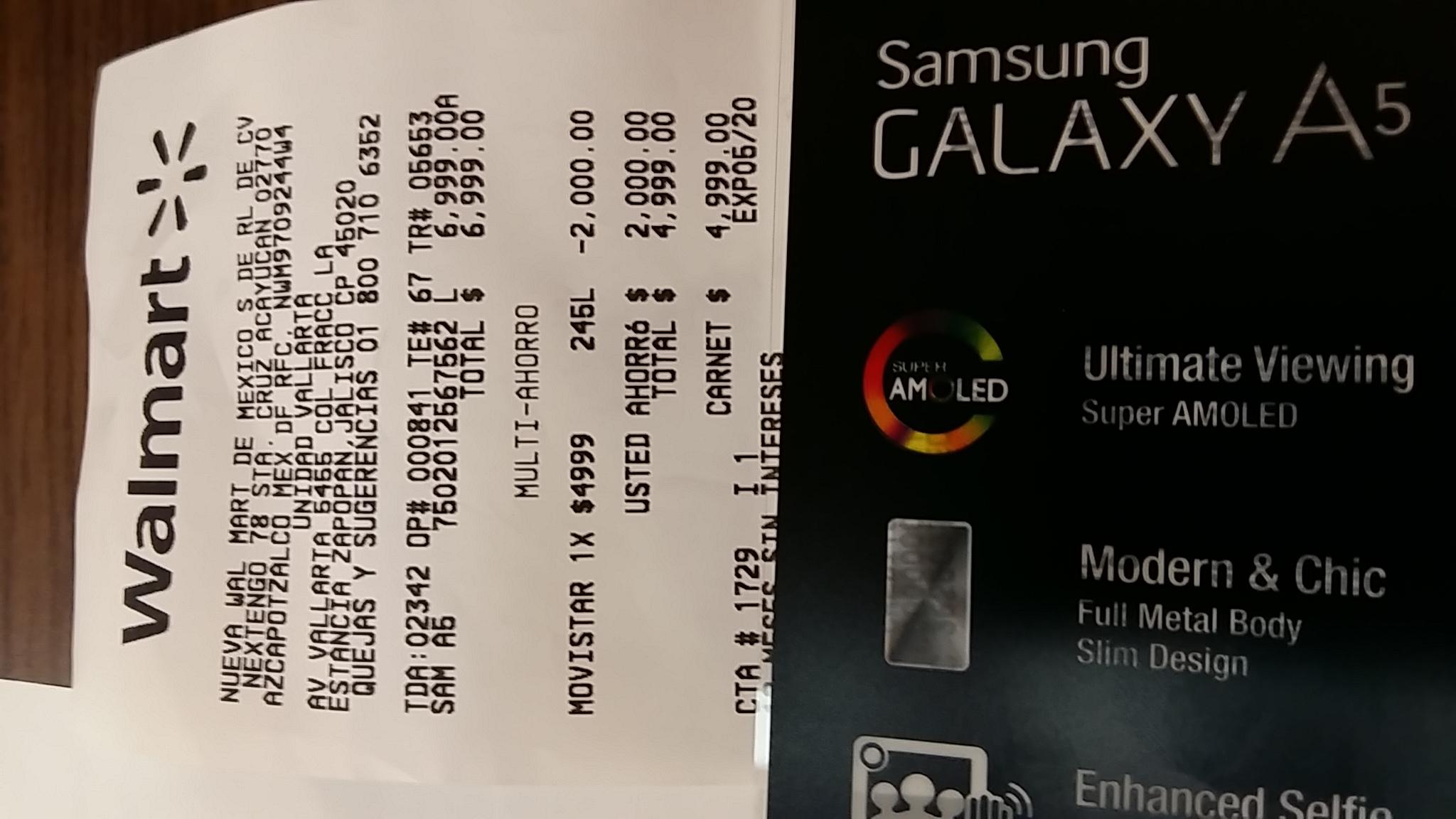 Walmart: celular Galaxy A5 Movistar a $4,999