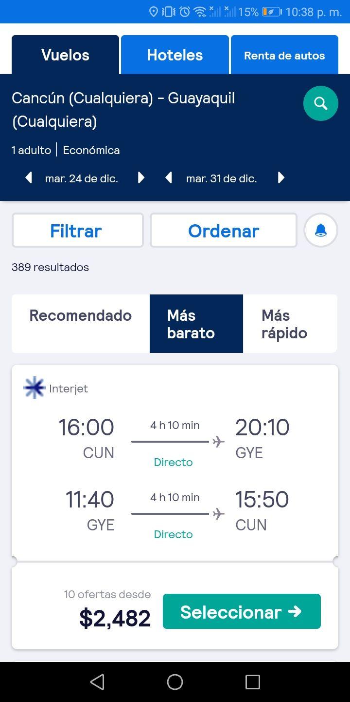 Interjet: Vuelo redondo Cancun - Guayaquil, Ecuador.