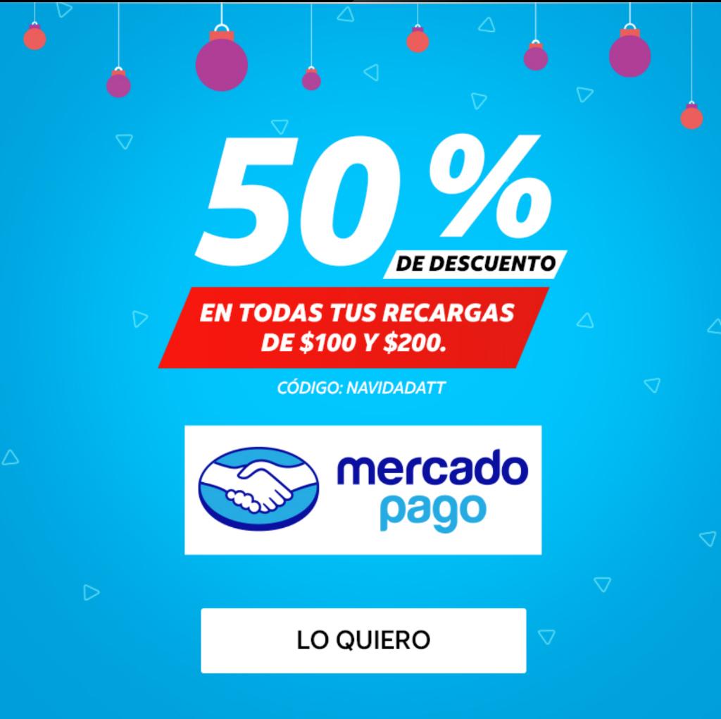 Cupón 50% en recargas at&t en mercado pago app