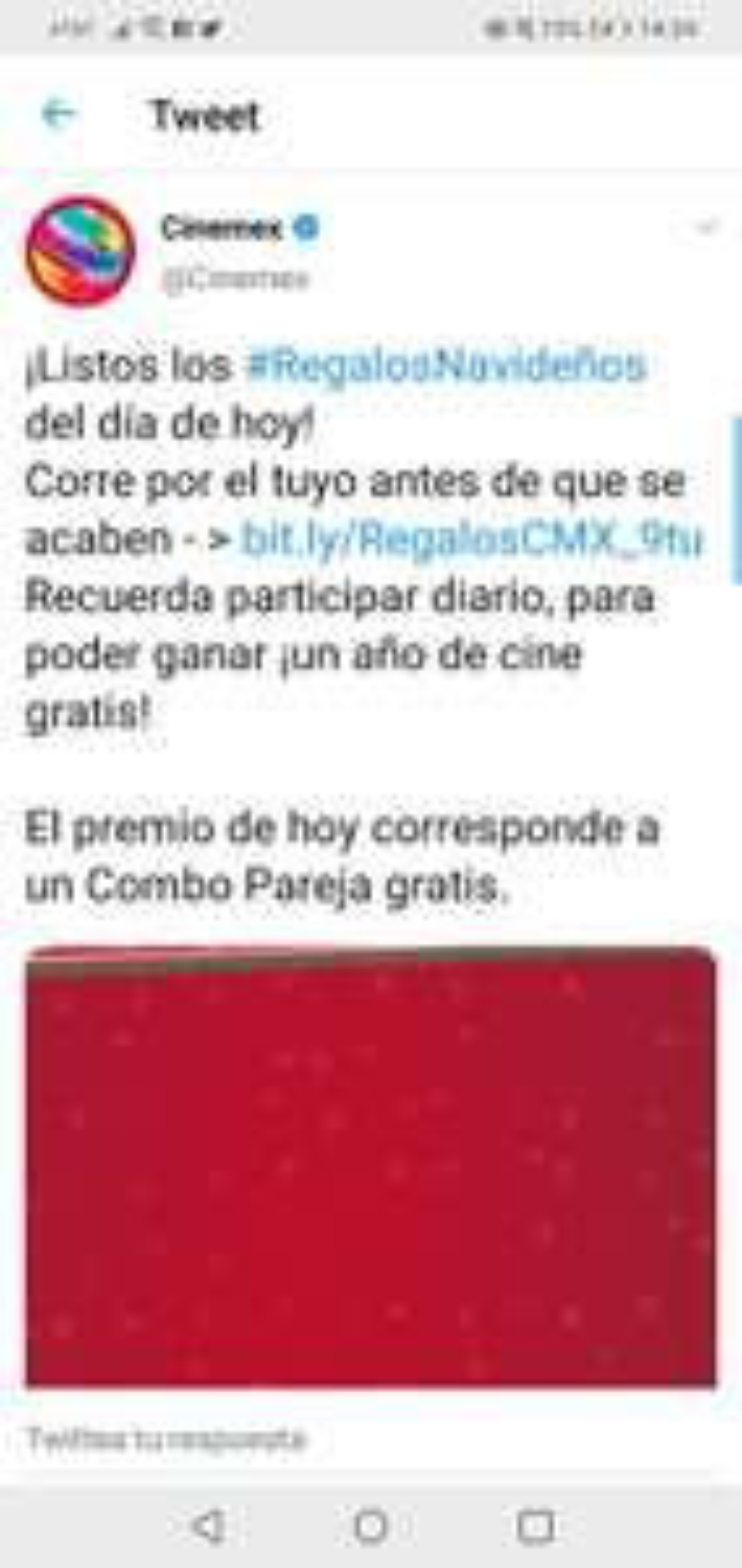 Regalos Navideños Cinemex: Combo pareja cinemex Gratis!