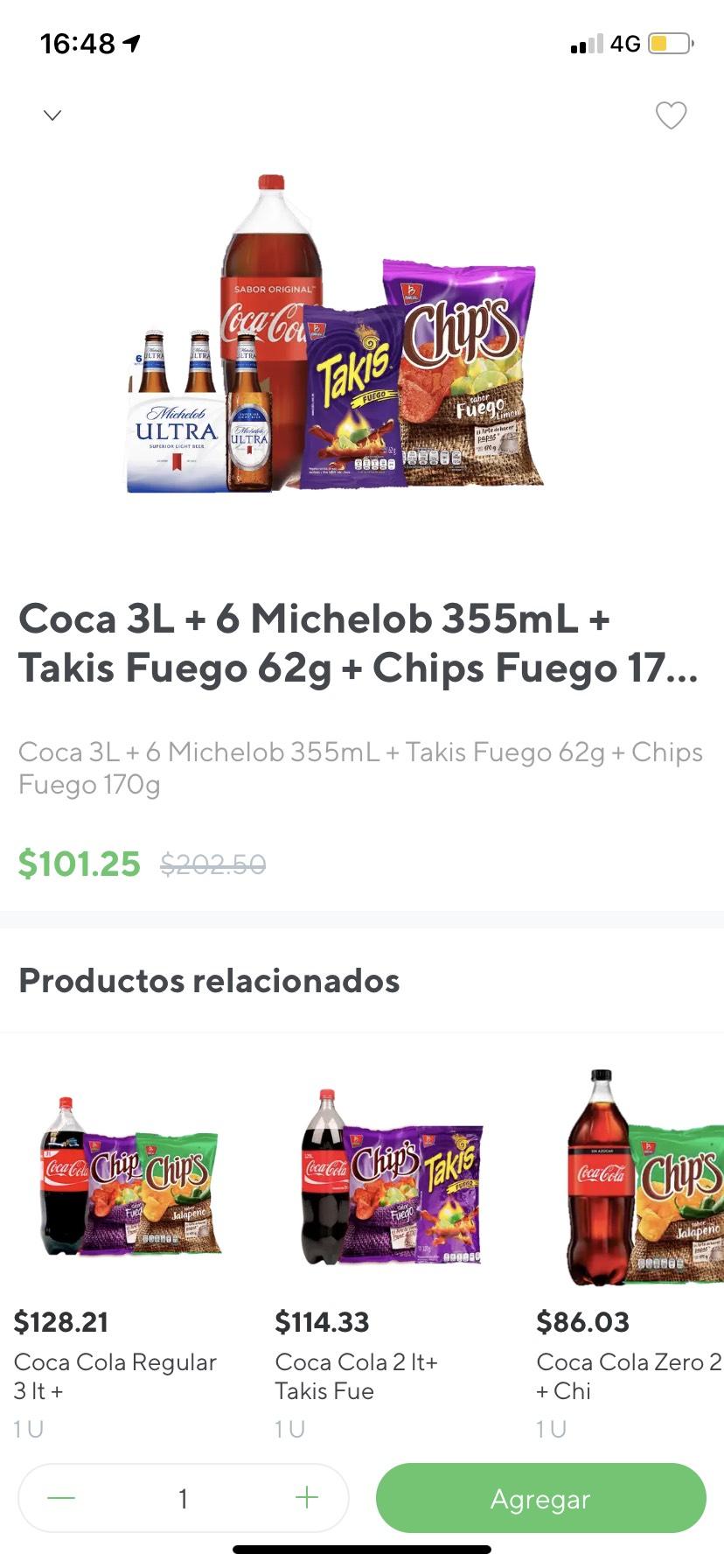 Rappi: Combo six Cerveza Ultra, Coca- Cola 3 lts, chips fuego 167g y takis fuego 62g ENVIÓ GRATIS