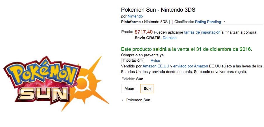 Amazon: preventa Pokémon Sun a $717.40 o $645.66 pagando con cupón Banamex