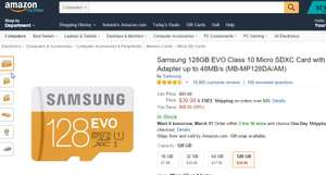 Amazon USA: Memoria MicroSD Samsung 128Gb a 40USD ($740 MXN aprox)