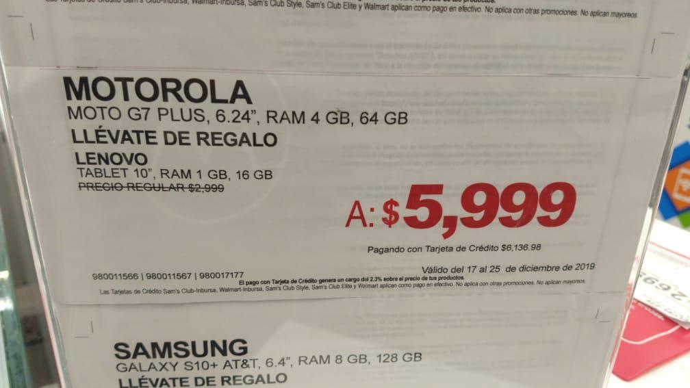 Sam's Club Acoxpa: Motorola G7 Plus Telcel, con tablet Lenovo de regalo