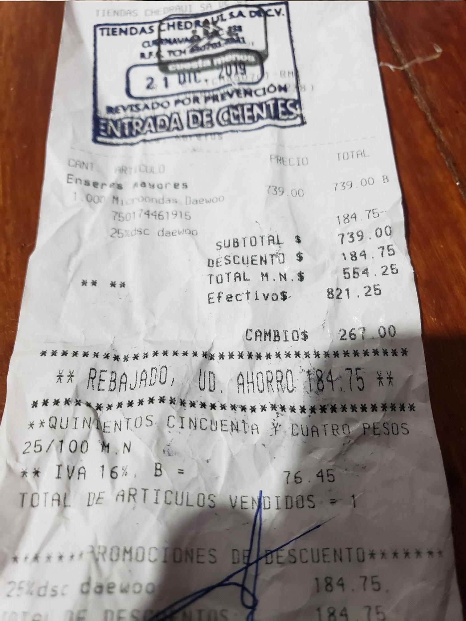 Chedraui: Horno Microondas De Remate Chedraui 554.25 Daewoo .7 Pies Jamas A Estado Tan Bajo En Tienda Fisica