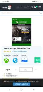 Cd Keys: Metro Last Light redux XBOX ONE