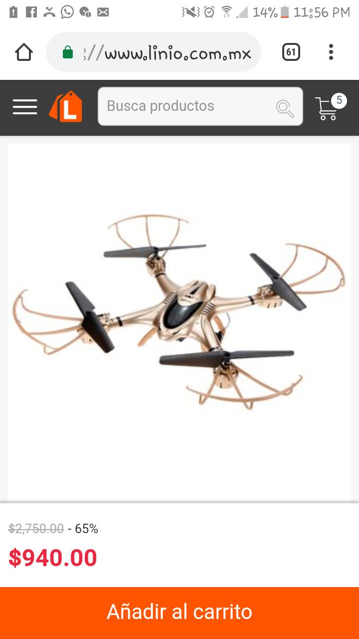 Linio: Dron hexacóptero con cámara y WiFi 65% de descuento +envío