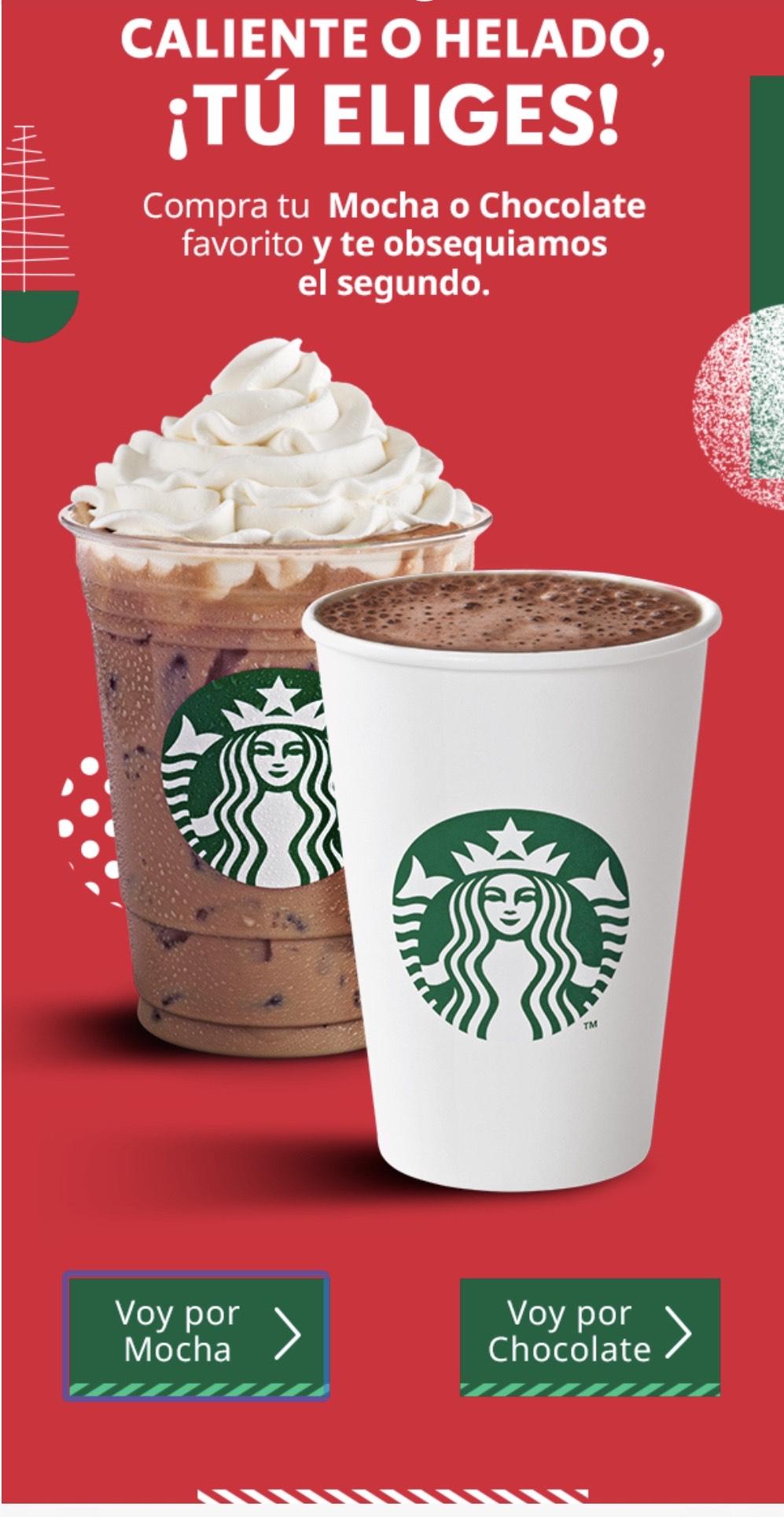 Starbucks: al comprar o mocha o chocolate, te regalan el segundo.