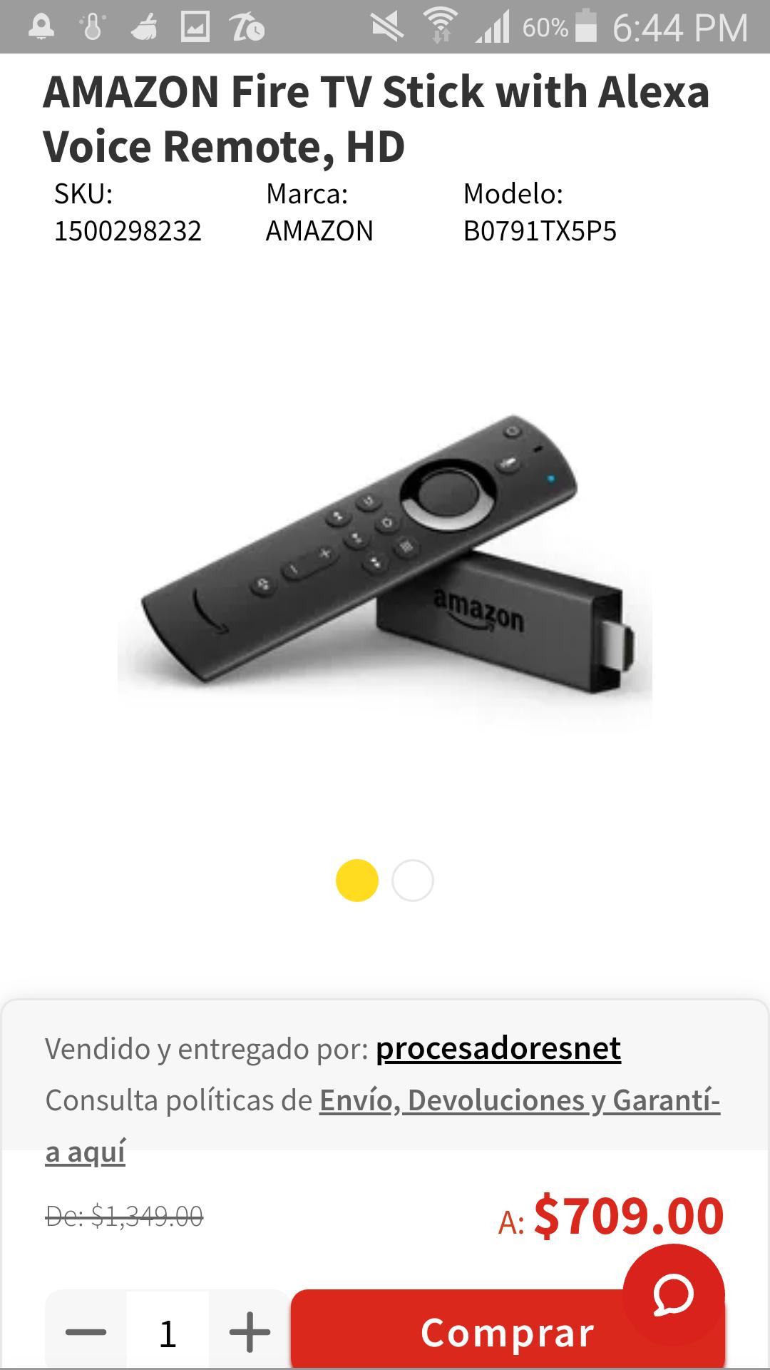 Elektra: Amazon Fire Stick con control de Voz Alexa de 1349 a 709
