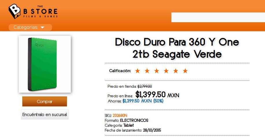 B-Store: Disco duro Seagate 2tb Edición Xbox One - RESURTIDO