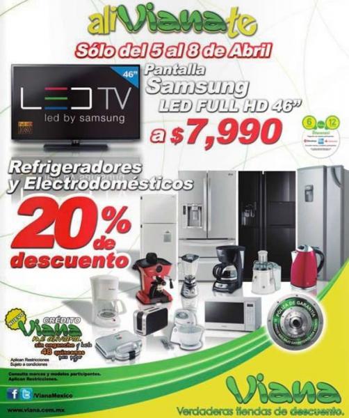 """Viana: pantalla LED Samsung 46"""" $7,990 y descuentos en refrigeradores y electrodomésticos"""