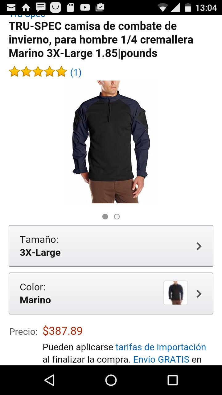 Amazon: Camisa de combate TRU-SPEC marino 3X LARGE a $388