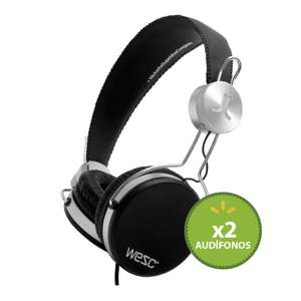 Walmart online: 2 Audífonos On Ear Wesc Negros mas Audifono