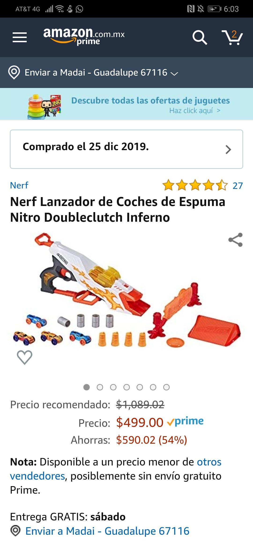 Amazon: Nerf Lanzador de Coches de Espuma Nitro Doubleclutch Inferno