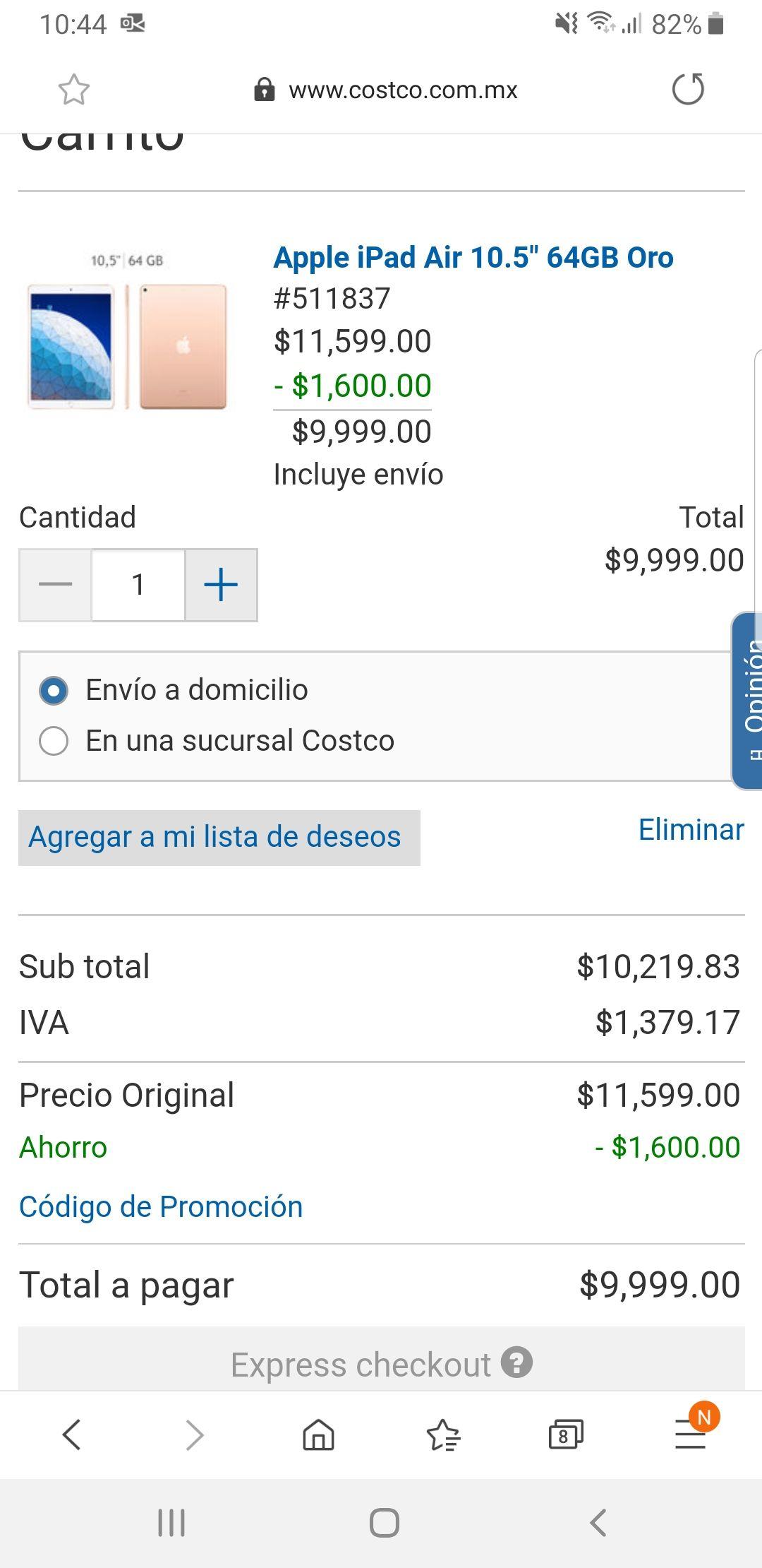 Costco Ipad air 64gb pagando con citibanamex