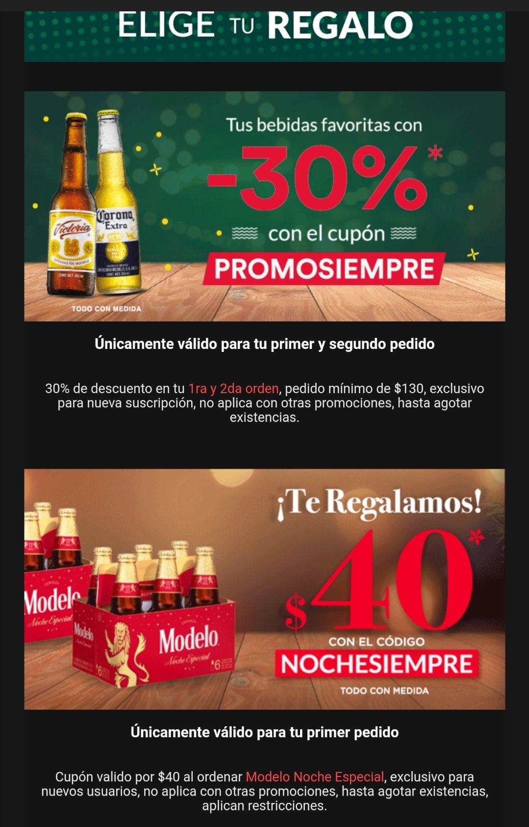 Cerveza siempre: 30% de descuento en primera y segunda compra y $40 pesos de descuento en primera compra (solo usuarios nuevos)