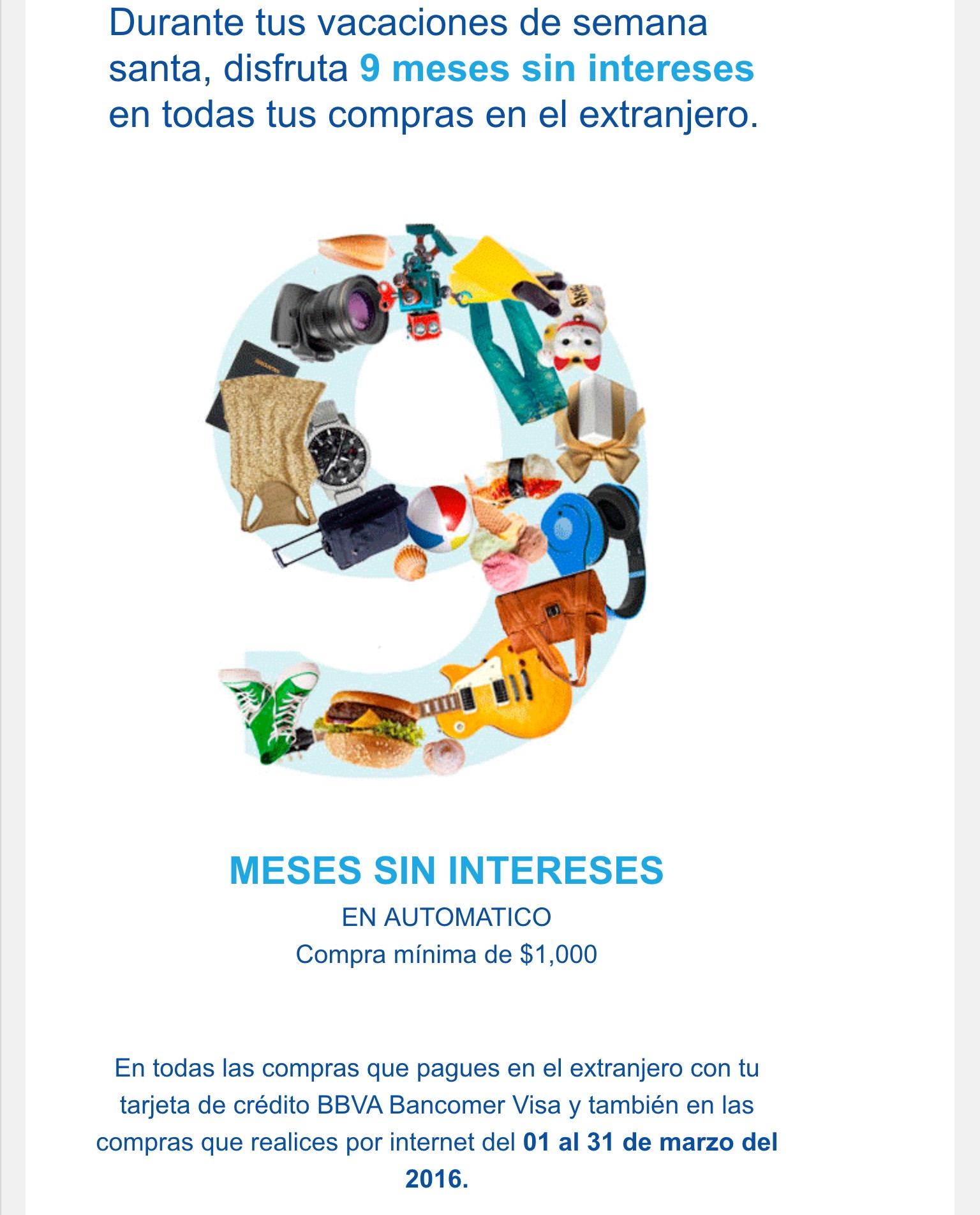 Bancomer: 9 meses sin intereses en compras en el extranjero o sitios web del extranjero
