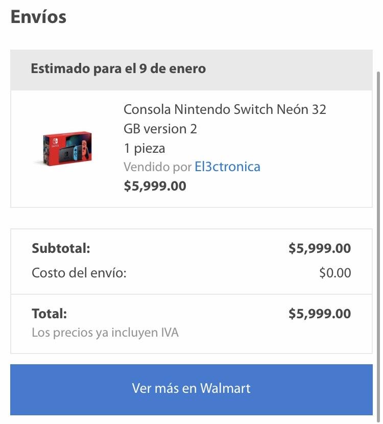 Walmart: Nintendo Switch 2da Generación