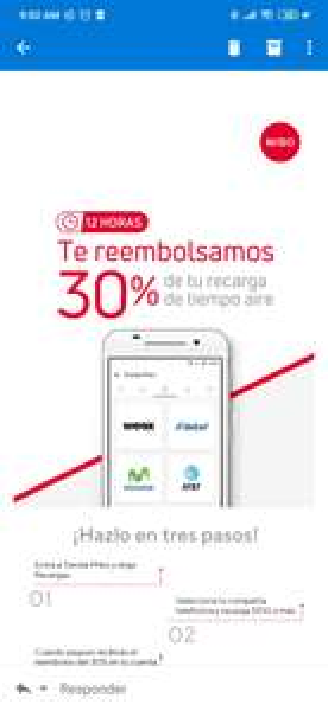 Mibo 30% de Reembolso en Recargas mayores a 100