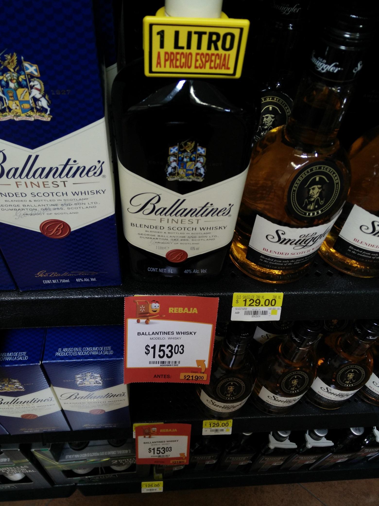 Walmart: Ballantine's Whisky de 1 Litro a $153.03