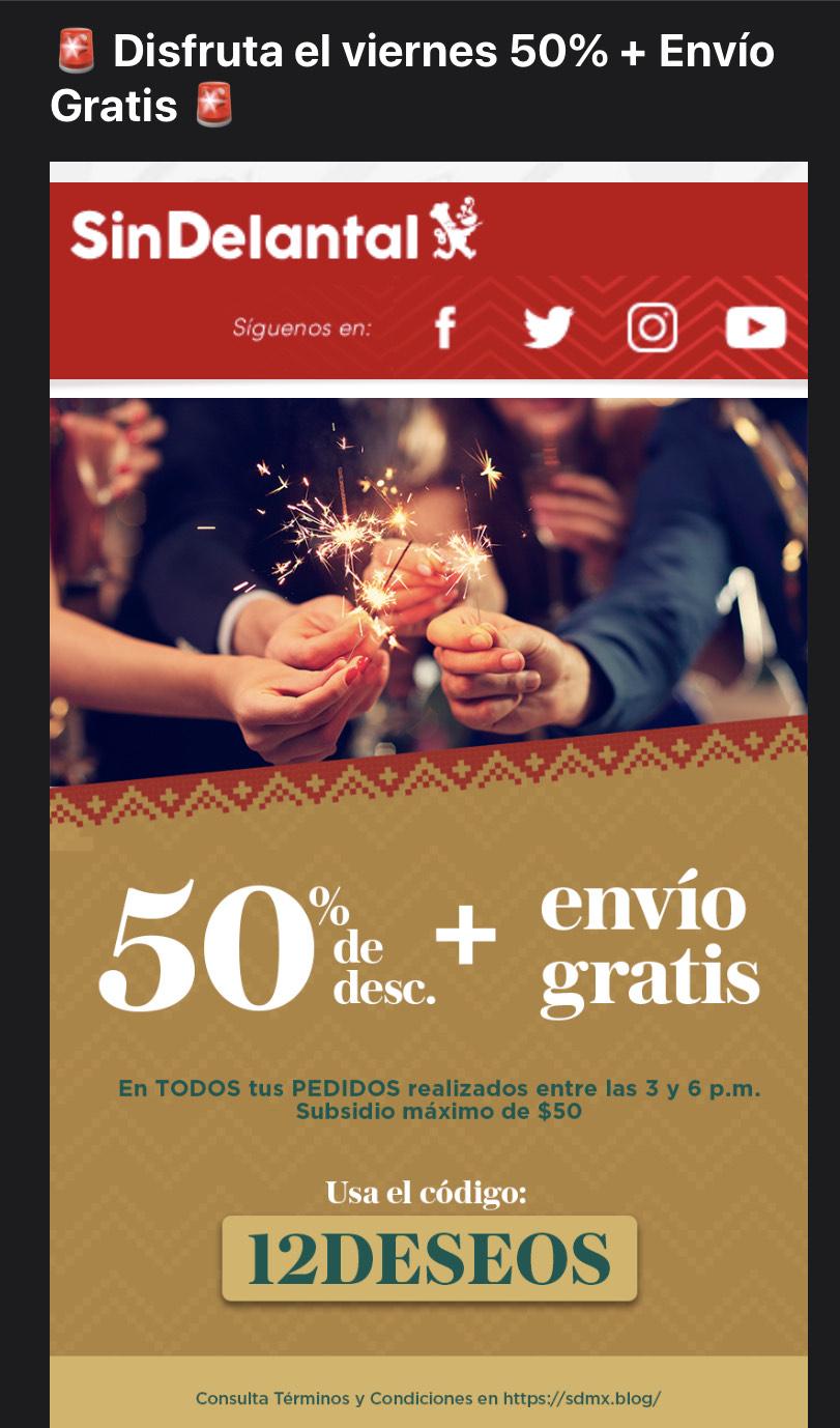 Sin Delantal 50% descuento + Envío Gratis