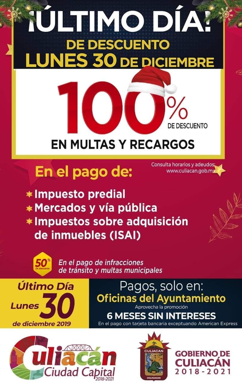 Culiacán: 100% de descuento en multas y recargos en predial y otros rubros