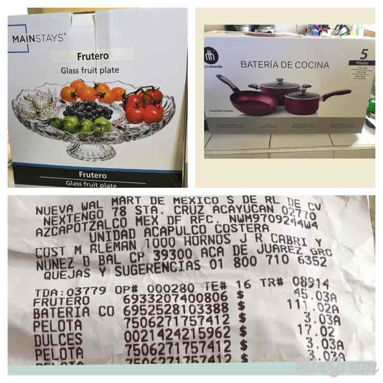 Bodega Aurrerá: Batería de cocina de 5 piezas a $111.02 y Frutero de cristal a $45.03