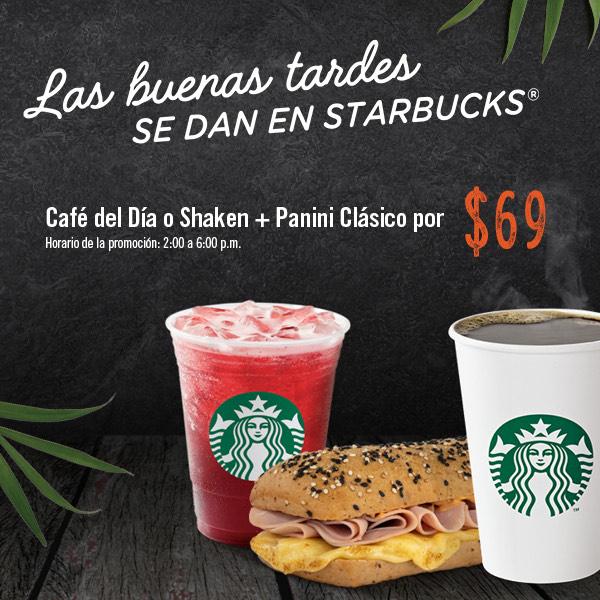 Starbucks: Café del Día o shaken + Panini Clásico Por $69