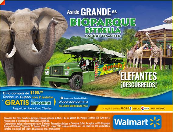 Walmart: Cupón con 2 boletos gratis para Bioparque Estrella en la compra de $150 y otros 2 boletos