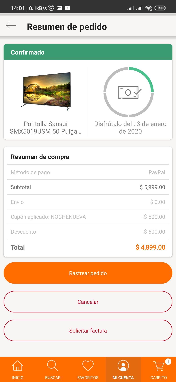 Linio: Pantalla sansui 4k 50 pulgadas smart (pagando con paypal)