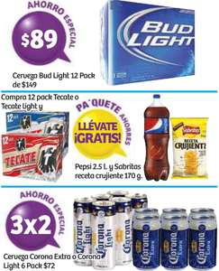 Soriana: 3x2 en six de cerveza Corona, 12 pack Bud Light $89