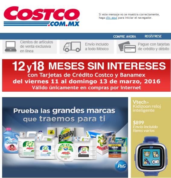 Costco en línea: 12 y 18 meses sin intereses del 11 al 13 de marzo