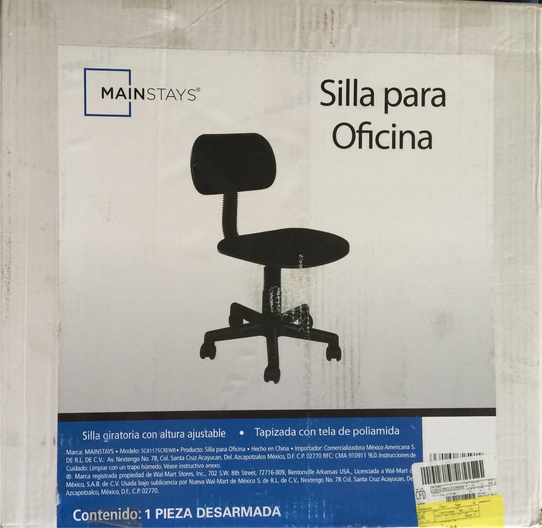 Walmart: Liquidación de silla secretarial sin pistón de $499 a $45.01