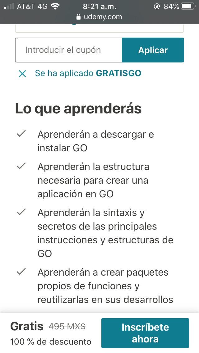 Udemy: Aprende lenguaje GO (GOLANG) desde 0