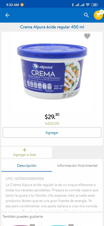 Walmart super: Crema Alpura ácida 450ml
