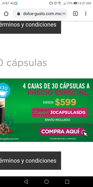 Dolce Gusto: Compra 4 cajas de 30 capsulas por 599