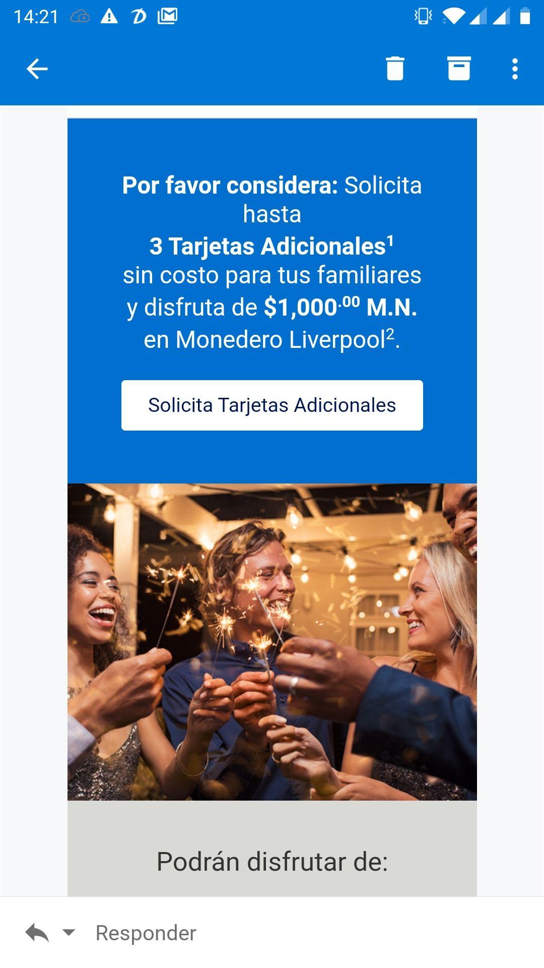 American Express: $1000 en monedero Liverpool al solicitar tarjeta adicional
